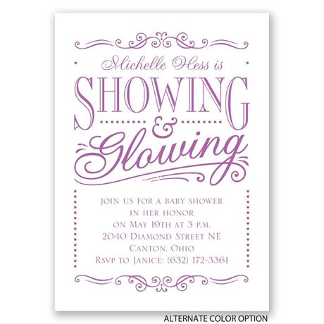 Showing and Glowing - Mini Baby Shower Invitation