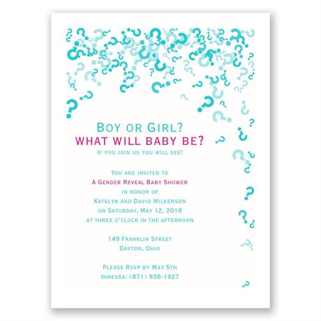 The Big Question Petite Baby Shower Invitation