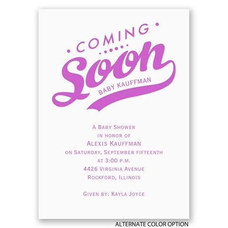 Coming Soon - Mini Baby Shower Invitation