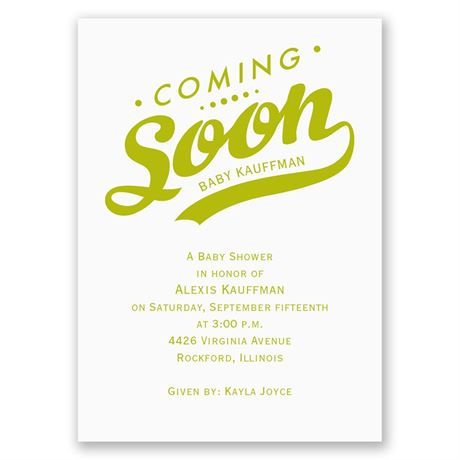 Coming Soon Mini Baby Shower Invitation