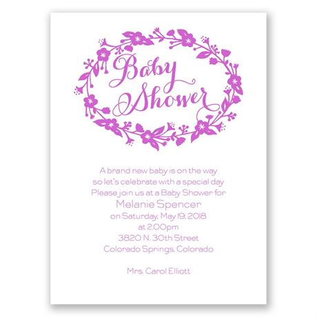 Floral Frame - Petite Baby Shower Invitation