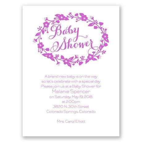 Floral Frame Petite Baby Shower Invitation