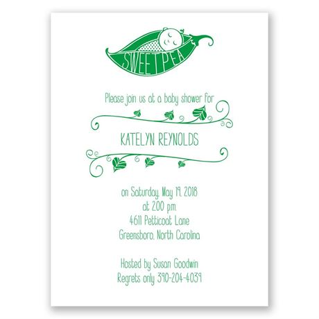 Sweet Pea - Petite Baby Shower Invitation