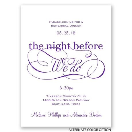 Elegant Swirls - Petite Rehearsal Dinner Invitation