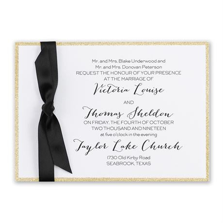 Golden Glow Horizontal Invitation