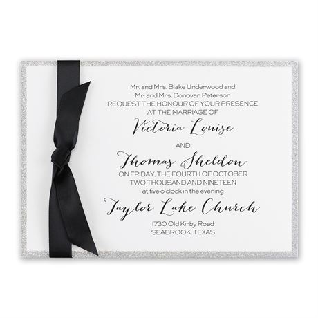 Silver Sparkle Horizontal Invitation