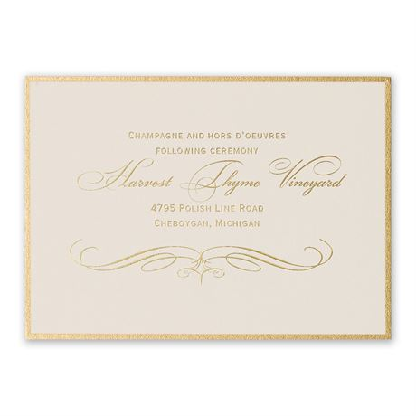 Gold Finish Foil Reception Card