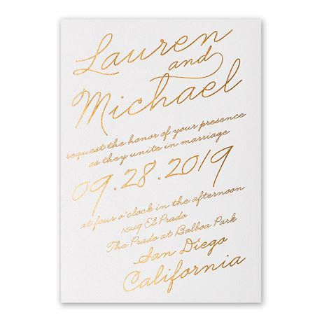 Exquisite Penmanship - White Shimmer - Foil Invitation