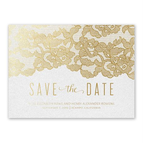 Lace Reflections - White Shimmer  - Foil Save the Date Card