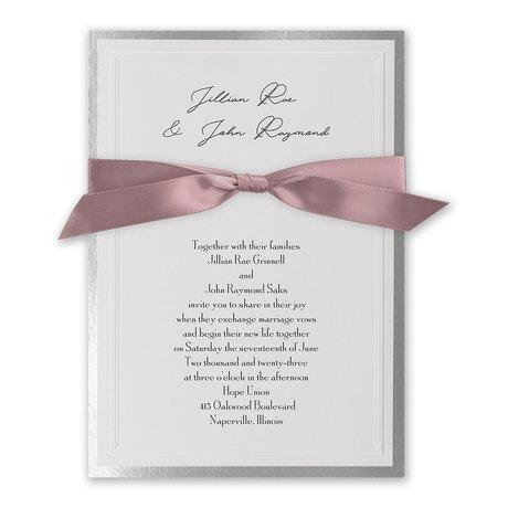 Silver Sophisticated Border - Rose - Invitation