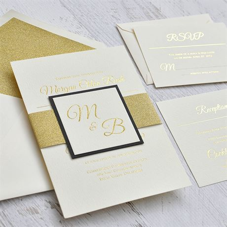 Layers of Luxury - Black - Gold Foil Invitation