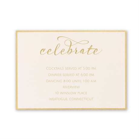Satin and Gold Reception Card
