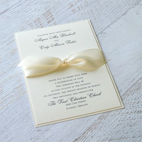 Luxe Love - Ecru Shimmer Invitation
