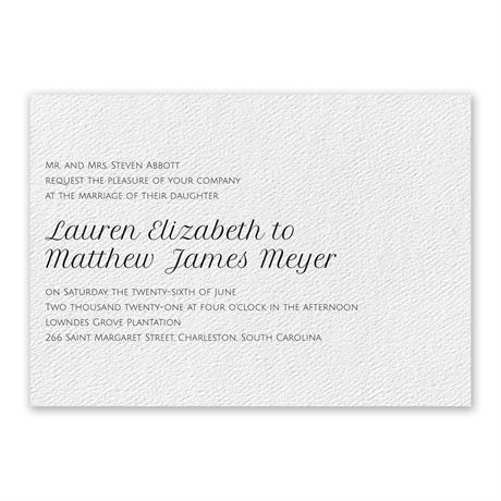 Pure Perfection - White - Invitation