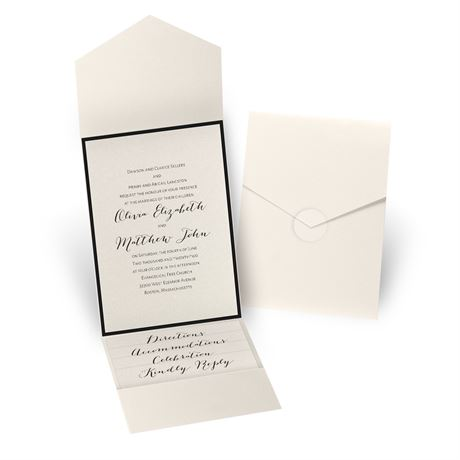 Luxe Elegance - Black - Ecru Shimmer Pocket Invitation