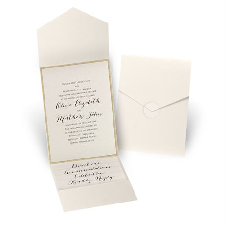 Glitter Elegance - Gold Glitter - Ecru Shimmer Pocket Invitation