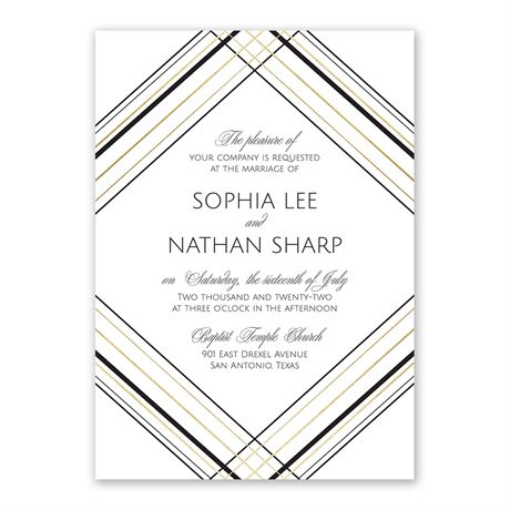 Sharp Lines - Gold - Foil Invitation