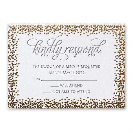 Speckled Elegance - Gold - Letterpress and Foil Response Card