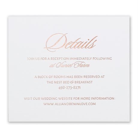 Glittering Glamour Rose Gold Foil Information Card