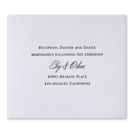 Pure Sophistication Letterpress Information Card