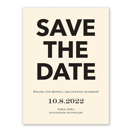 One Fine Date - Ecru - Save the Date