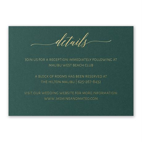 Hunter Brilliance - Gold - Foil Reception Card