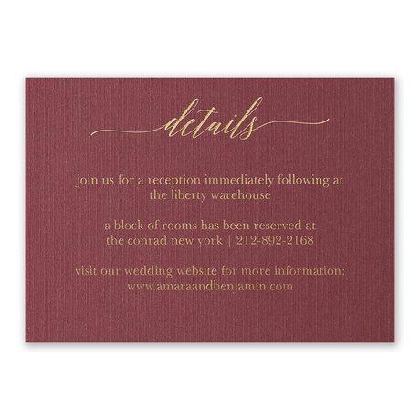 Burgundy Brilliance - Gold - Foil Reception Card