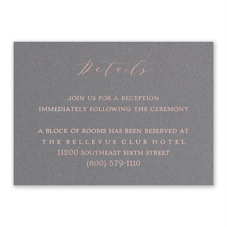 Love Story - Rose Gold - Foil Reception Card