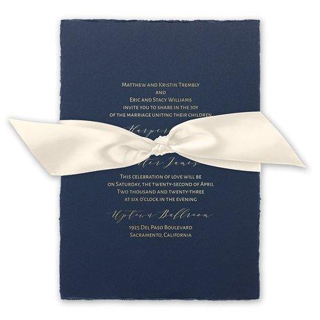 Delicate Deckle - Gold - Foil Invitation