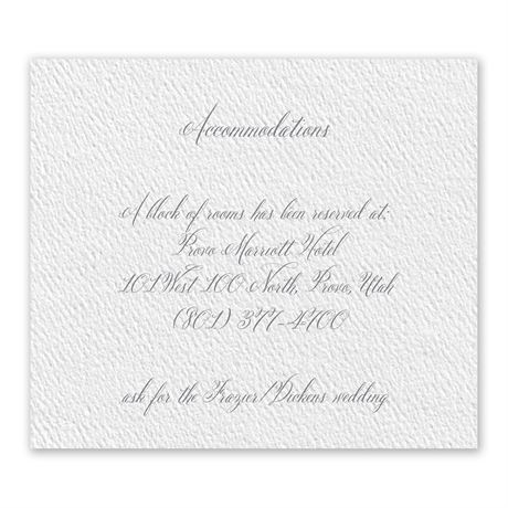 Wedded Bliss White Information Card