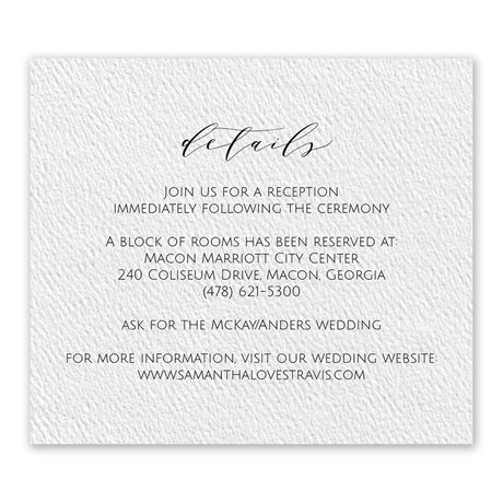 Modern Elegance White Information Card