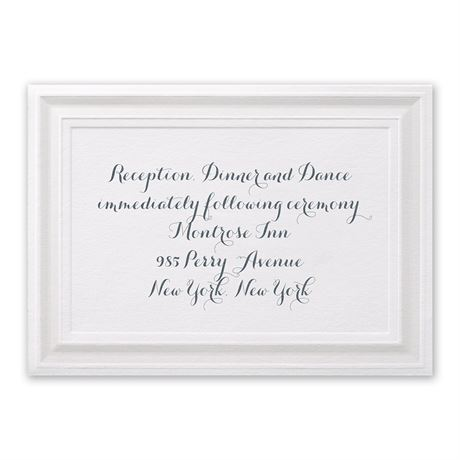 Beautifully Framed Reception Card