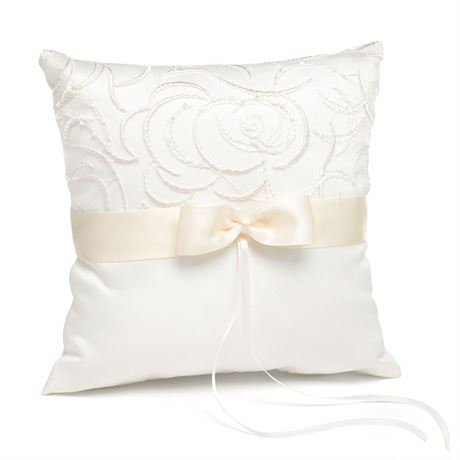 Embroidered Swirls Ivory Ring Pillow