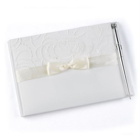 Embroidered Swirls Ivory Guest Book