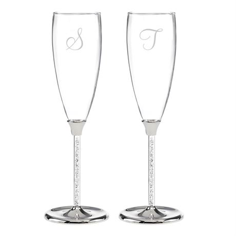 Crystal Filled Wedding Toasting Flutes