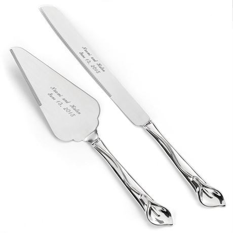 Silver Calla Lily Knife and Server Set