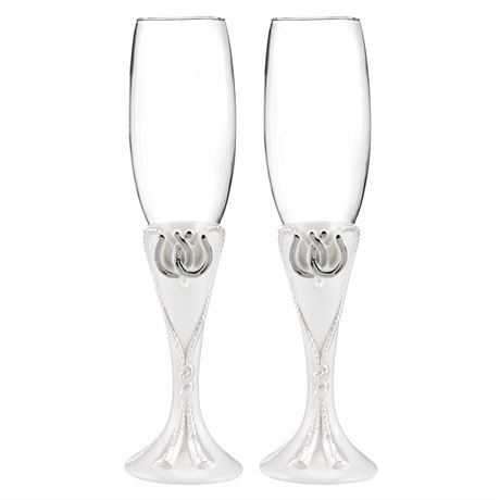 Lucky Horseshoes Toasting Flutes
