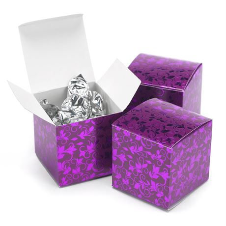 Foil Filigree Purple Favor Boxes