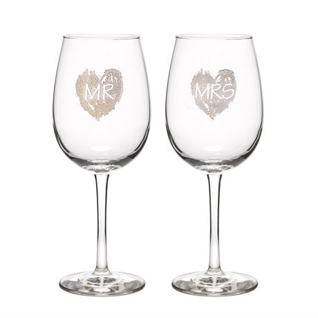 Brush of Love Wine Glasses