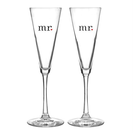 Mr. and Mr. Flared Toasting Flutes