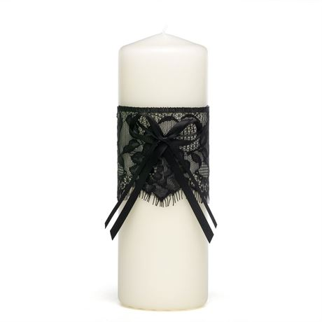 Vintage Black Lace Unity Candle