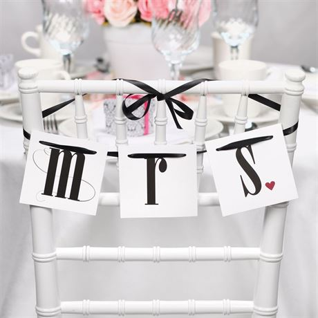Mr. and Mrs. Ribbon Chair Banners