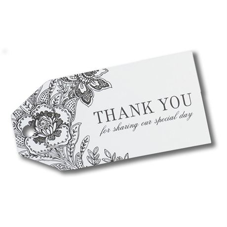 White Dramatic Floral Favor Cards