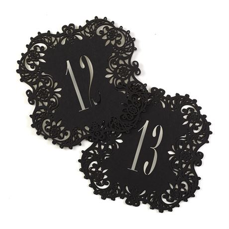 Black Laser Cut Table Number Cards 11 20