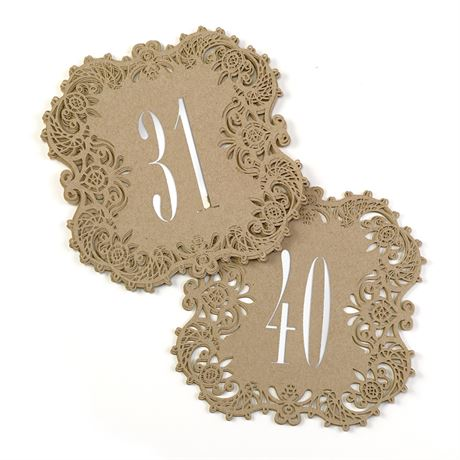 Kraft Laser Cut Table Number Cards 31 40