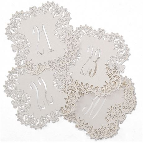 White Shimmer Laser Cut Table Number Cards 21 30