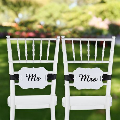 Mr. and Mrs. White Scalloped Chair Banners