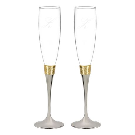 Hammered Gold Toasting Flutes