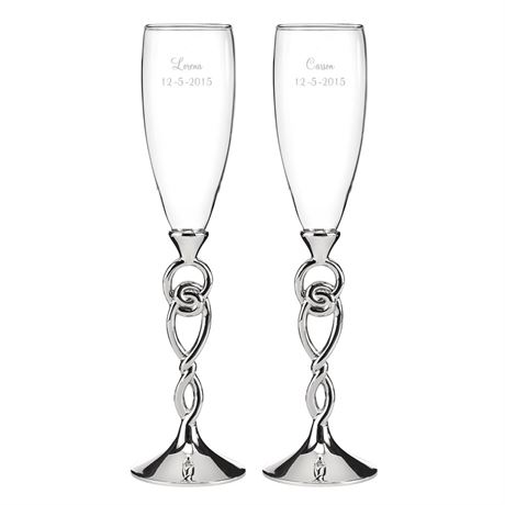 Eternity Knot Toasting Flutes