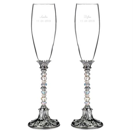 Sparkling Beads Toasting Flutes